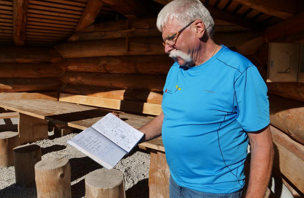 Peter Mathis zeigt das Gästebuch der Gruebi.