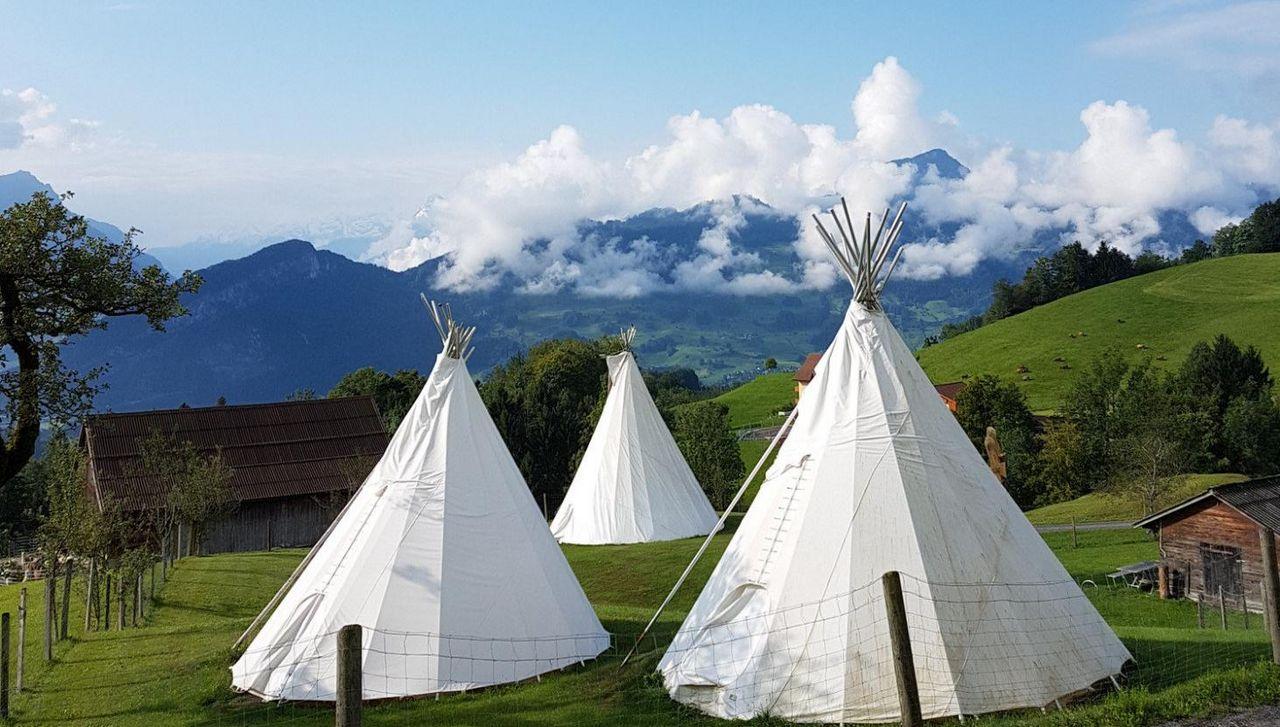 Drei weisse Tipis mit ländlicher Landschaft im Hintergrund.