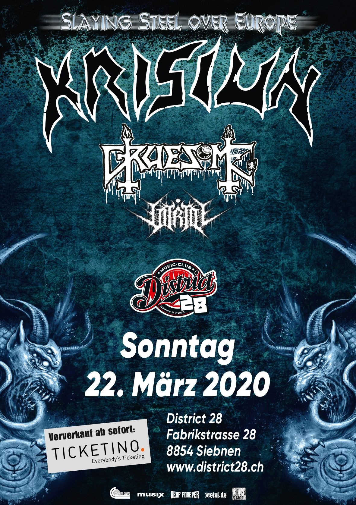 KRISIUN (BRA), CRUESOME (USA) & VITRIOL (USA) – Exclusive Swiss show